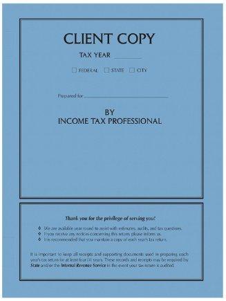 Personalized Client Copy Side Staple Folder, Black Ink, Color Choice (Blue)