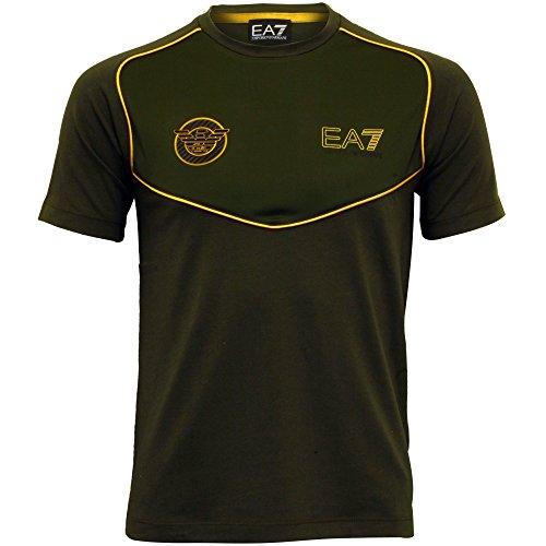 Emporio Armani Men's EA7 Soccer Archive V-Neck T-Shirt, Khaki/Gold X-Large - Emporio Gold Armani
