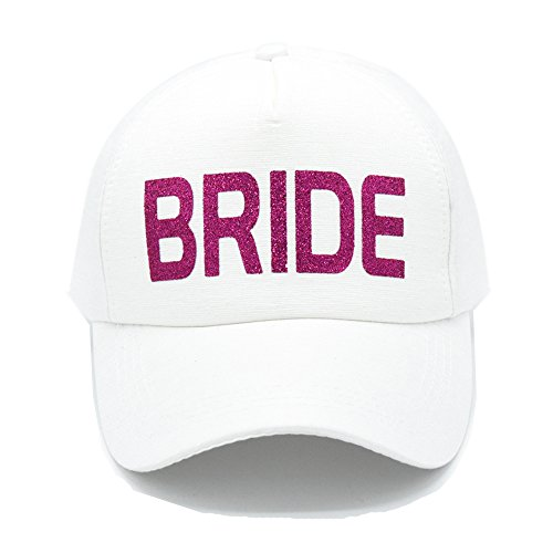 PumPumpz Personalized Gifts Wedding White Bride Hat Style baseball Cap Hat With Pink Glitter Stylish Perfect Gift for Bride. (White Pink Gitter) (Baseball Wedding Hat)