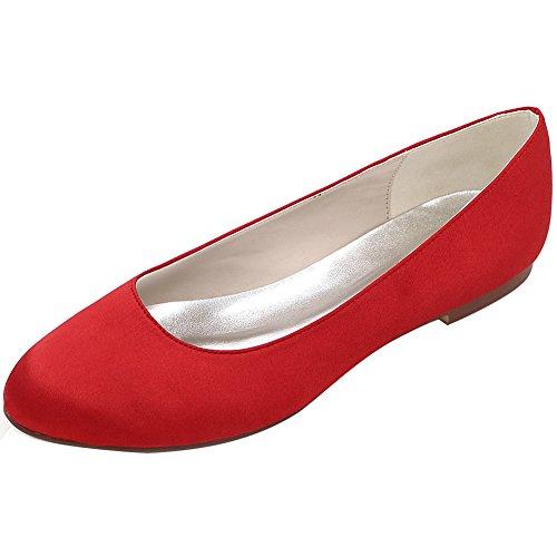 Loslandifen Femmes Paillettes Paillettes Appartements Élégant Bout Rond Mariage Ballet Chaussures De Mariée Rouge Satin