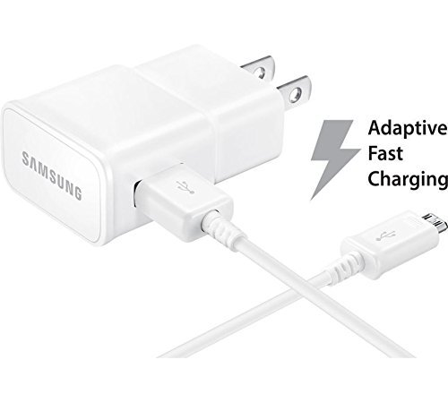 Verizon Samsung Galaxy S7 edge Adaptive Fast Charger Micro USB 2.0 Cable Kit! [1 Wall Charger + 2x Micro USB Cable] AFC uses dual voltages for up to 50% faster charging! - Bulk Packaging