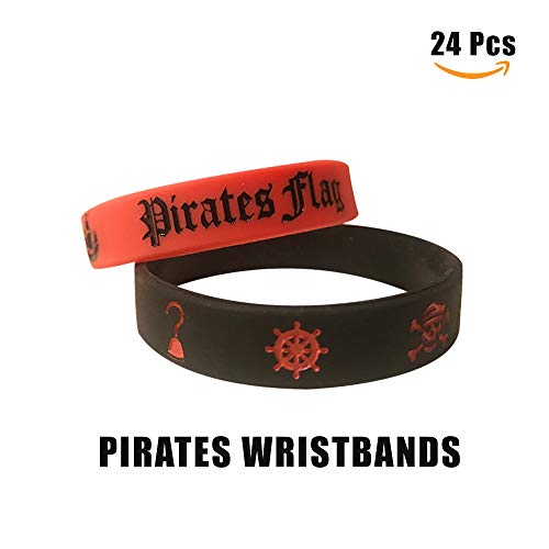 Cleverplay Pirate Party Favors Supplies 24 Pack Caribbean Pirates Silicone Wristbands Bracelets 24 Pack Pirate Toy Rings Great Kids Birthday Parties Pirate Events by Cleverplay (Image #1)