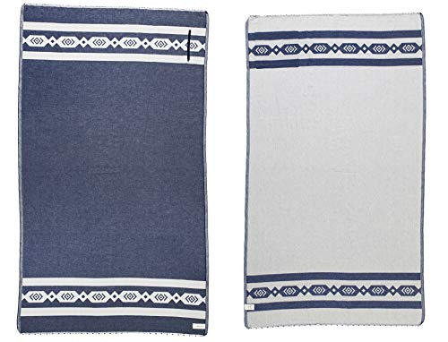 Bersuse DESIGNER COLLECTION GOTS-Certified 100% Organic Cotton - Acapulco Turkish Towel Peshtemal - Bath Beach Fouta Pestemal - Aztec Bohemian - Hidden Zipper Pocket - 37X70 Inches, Navy (Set of -