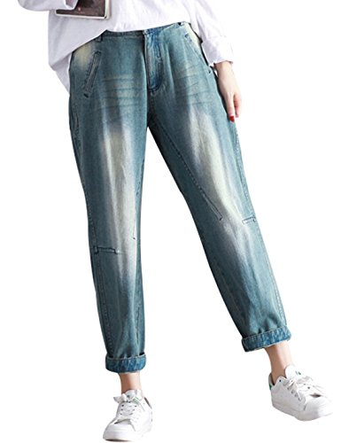Yeokou Women's Casual Loose Distressed Baggy Harem Denim Jeans Cropped Pants (Medium, Light Blue001)