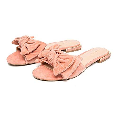 Quotidienne Pink Pink Mode Été Ouverte CN37 Fleurs EU37 Pantoufles La Couleur Fleurs Tête Orteil Femme Sandales Xy® 5 UK4 5 Fond Ronde Plat De Pantoufles Taille w74nUqP