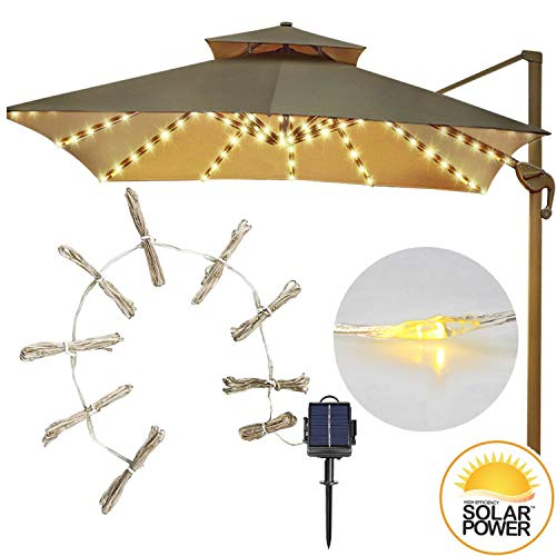 DBFairy Patio Umbrella Lights,Market Umbrella String Lights,Solar Powered,8-Ribs 104 LED,8 Mode,Easy to Install,Twinkle Fairy Lights for Outdoor Wedding Table Umbrella - Warm White