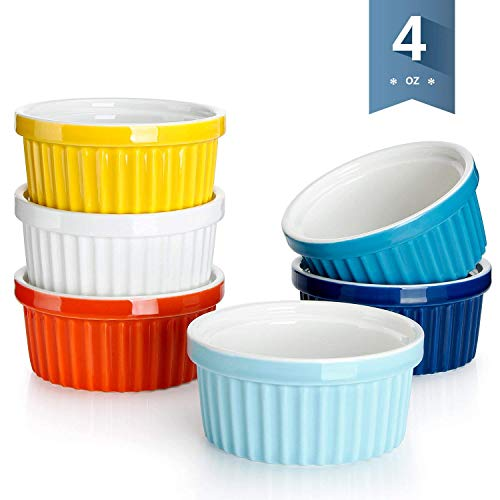 Sweese 5108 Porcelain Souffle Dishes, Ramekins - 4 Ounce for -Souffle, Creme Brulee And Dipping Sauces - Set of 6, Assorted Colors