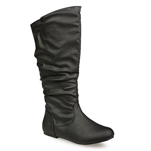 Twisted Women's SHELLY Wide Width/Wide Calf Faux Leather Knee-High Scrunch Flat Riding Boot - BLACK, Size 9