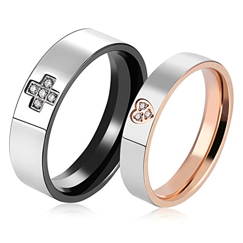 Two Finger Any Name Ring - AnaZoz 316L Stainless Steel Rose Gold Plated Women Wedding Rings Heart