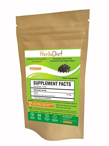 Herbadiet Piperine 95% Black Pepper Extract Powder 95% By Hplc Bioavailability Enhancer 10 Gm Pack
