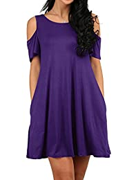 Women's Cold Shoulder Tunic Top T-Shirt Swing Dress with...