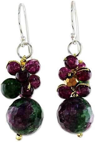 NOVICA Multi-Gem Zoisite Cluster Earrings with .925 Sterling Silver Hooks, 'Sweet Berries'