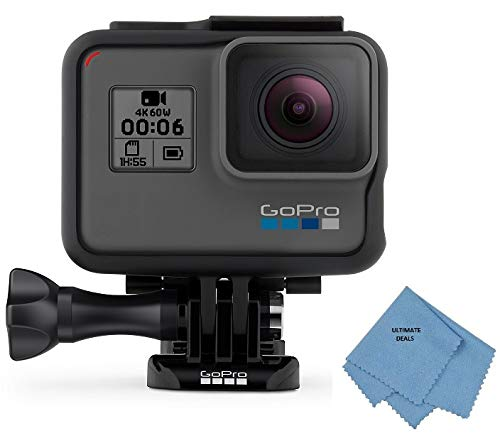GoPro HERO6 Black - Waterproof Digital Action Camera for Travel with Touch Screen 4K HD Video 12MP Photos + Ultimate Deals Cloth