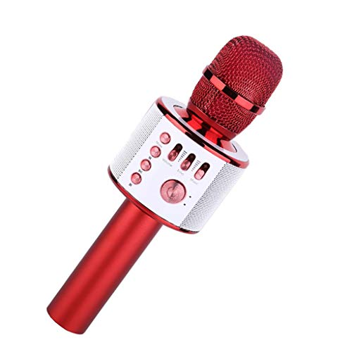 (LEERYAAY Wireless Karaoke Mic 3 in 1 Portable Karaoke Machine for iPhone Android Phone Red)