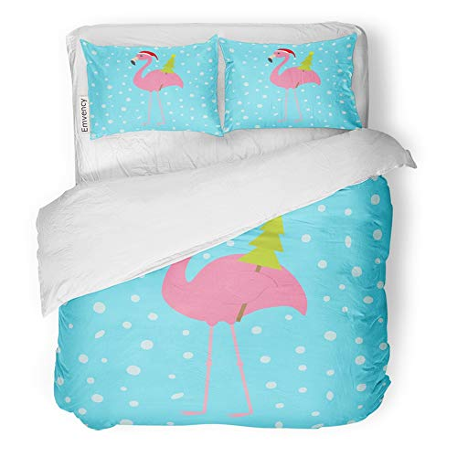 (Emvency Decor Duvet Cover Set Full/Queen Size Pink Flamingo with Wing Holding Christmas Fir Tree Santa Claus Hat Exotic 3 Piece Brushed Microfiber Fabric Print Bedding Set Cover)