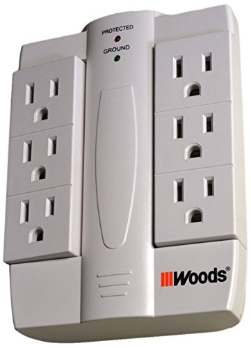 Woods 041420 6 Outlet 2100-Joule Space Saving Swivel Tap. Wh
