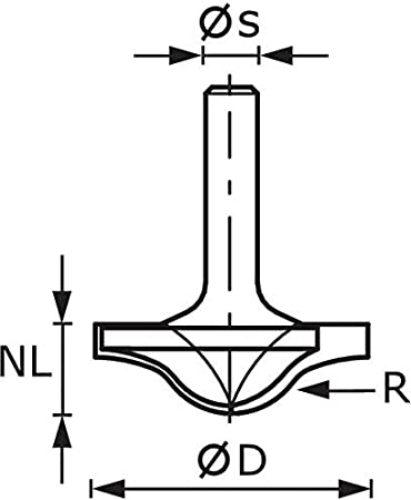 FESTOOL Profilfräser Radius HW Schaft 8 mm HW S8 D42//R6 Nr.:491131