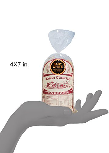 Amish Country Popcorn | 1 lb Bag | Baby White Popcorn Kernels | Old Fashioned with Recipe Guide (Baby White - 1 lb Bag)