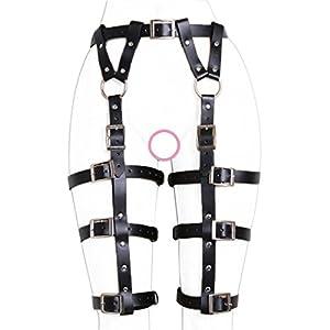 ClearUmm Women Sexy Punk Leather Harness Garter Belt Adjustable Waist Leg Cincher Cage Belt - Free Size