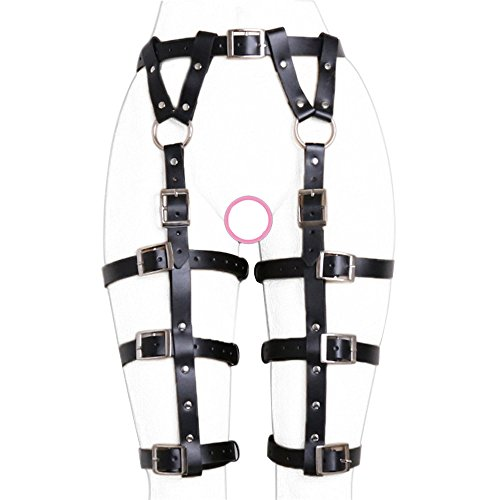 ClearUmm Women Sexy Punk Leather Harness Garter Belt Adjustable Waist Leg Cincher Cage Belt - Free Size - 6 Leg Rings