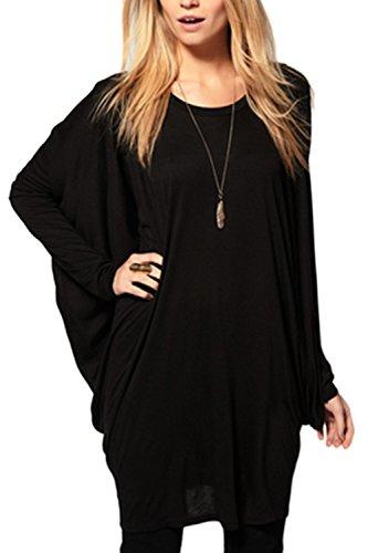 La Mujer Es Elegante Batwing Long Sleeve Scoop Cuello Fruncido T Shirt Tops Blusas Black