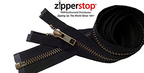 Zipperstop Wholesale YKK®- Jacket Zippers YKK® #5 Antique Brass- Metal Teeth Separating for Crafter's Special Color Black #580 Made in USA -Custom Length (7 -