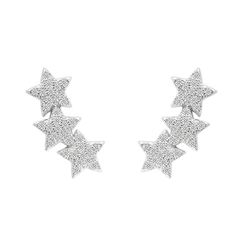 EVER FAITH 925 Sterling Silver Cubic Zirconia Shooting Stars Design Ear Cuff Stud Earrings Clear 1 Pair