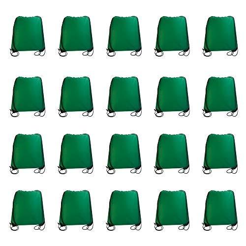 IMI bag 20PCS Folding Ripstop Fabric Drawstring Backpacks for Gym Traveling Partys Promotional Sport Home Storage.NO Logo School Kids Bags (Green) [並行輸入品] B07R4TS634