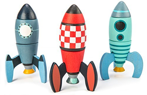 Rocket Construction Toy Set - 18 Pc Wooden Construction Set Builds 3 Rocket Ships - Made with Premium Materials and Craftsmanship - Develops Problem Solving Skills and Imaginative Play - -