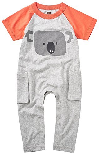 Tea Collection Baby Boys' Koala Pocket Romper, Storm Grey Heather, 12-18M (Clothes Tea Collection)