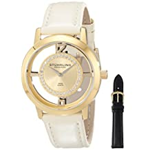 Stuhrling Original Women's 388L2.SET.02 Classic Winchester Tiara Swiss Quartz Swarovski Crystal Gold Tone Champagne Leather Additional Strap Watch Set