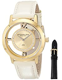 Stuhrling Original Women's 388L2.SET.02 Classic Winchester Tiara Swiss Quartz Swarovski Crystal Gold Tone Champagne Leather Additional Strap Watch Set