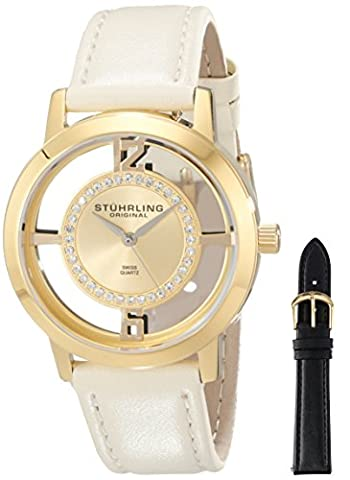 Stuhrling Original Women's 388L2.SET.02 Winchester Tiara Analog Swiss Quartz Champagne Leather Watch with Interchangeable Black Band