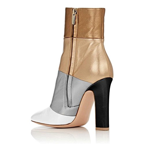 Cicime Pumps Ankle Boots For Women Booties Dress Shoes Block Chunky High Heels 5 Multi-color zbR1CkdL5y