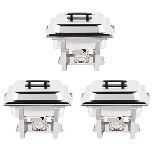 - 3SET Economy 4 Qt. Silver Half Size Stainless Steel Square Chafing Dish Water pan, food pan, cover, frame, and fuel holders included