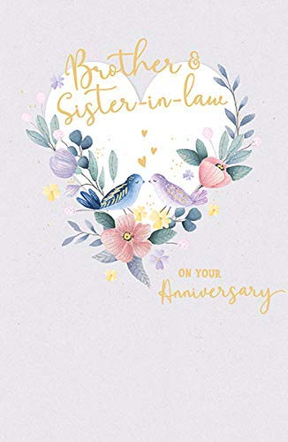 Brother & Sister in Law Love Birds Wedding Anniversary Card