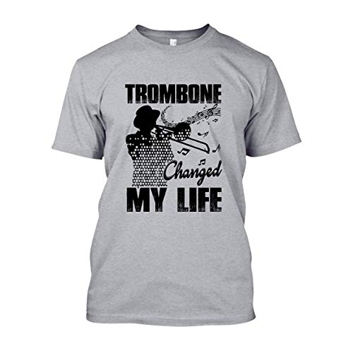 In Prink Trombone Changed My Life T Shirts, Adult Short Sleeve Shirt Grey,M -