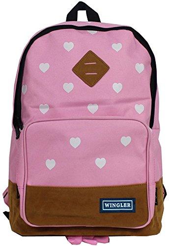 HevenJx Casual Style Canvas Laptop Bag shoulder Bag School Backpack Travel Bag Handbag Pink