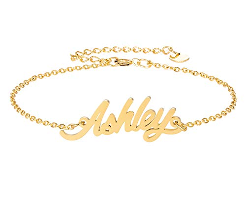 HUAN XUN Ashley Name Bracelet for Womens Girls Jewelry Gifts Stainless Steel