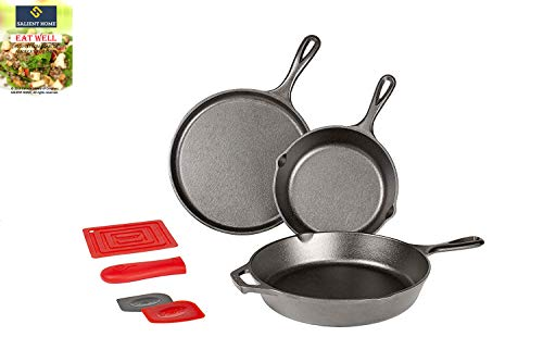 Lodge 10.5 Inch Cast Iron Griddle Cookware and Essential Skillet Set | Pre-Seasoned, Ready to Use Round Pan Perfect for Pancakes, Pizzas and Quesadillas | Bundle INCLUDES SALIENT HOME Recipe Cookbook