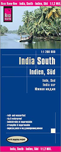 India South Travel Map, 1:1,200,000 (English, Spanish, French, German and Russian Edition) (South India Map)