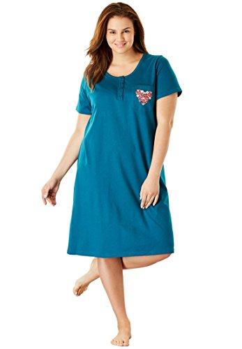 Dreams & Co.. Women's Plus Size Cotton Sleepshirt Deep Lagoon Heart,34/36