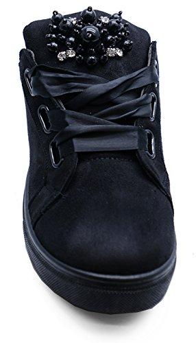 Des Lacets Chaussures Dames De 8 3 Skate Pompes Tailles Confortable Noir Ruban Plat Plimsoll Formateurs fqw7PgEq