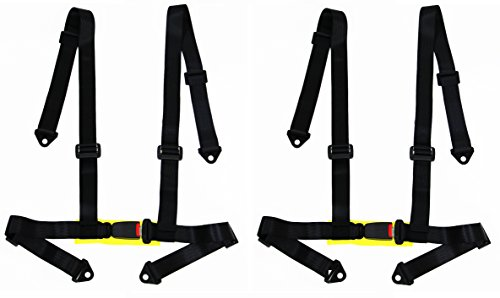 Racing Harness Belts - Logo Free Buckle Racing Style Harness For Powersports - PAIR (Black)