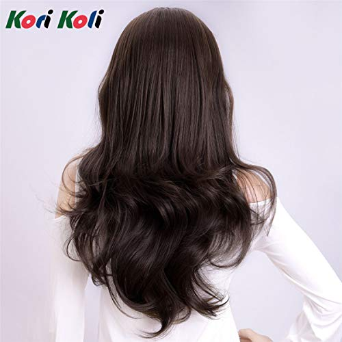 Kori Koli 24 Inch Wavy 3/4 Half Wig Long Synthetic Hair Extensions Ombre Blonde Capless Wigs Hair Clips Extension For Women 210g 9#