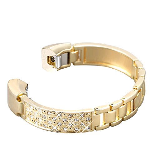 bayite Metal Bands Compatible Fitbit Alta and Alta HR, Jewelry Bangle Adjustable Bracelet with Rhinestone, (Gold, 5.5 - 7.2)