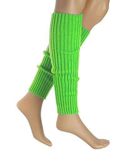 Women 80s Set Neon Knit Headband Wristbands Leg Warmers