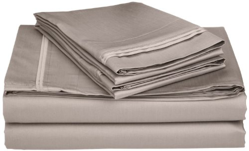 100% Egyptian Cotton 650 Thread Count, Split King 5-Piece Sheet Set, Deep Pocket, Single Ply, Solid, Grey (650 Sateen Thread)
