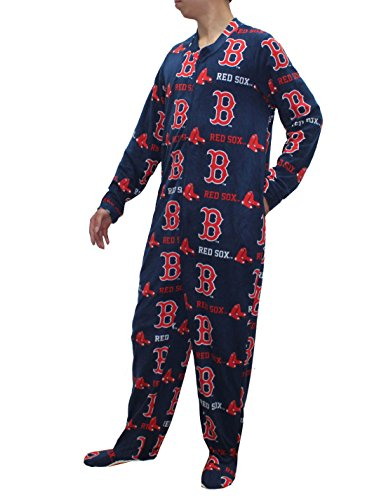 MLB Boston Red Sox Mens One-Piece Polar Fleece Footed Romper L Multicolor