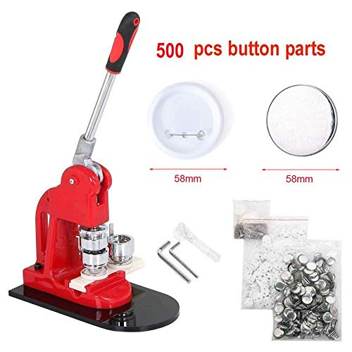 Slendor 2-1/4 inch 58mm Button Badge Maker Machine with 500 Pcs Button Parts and Circle Cutter
